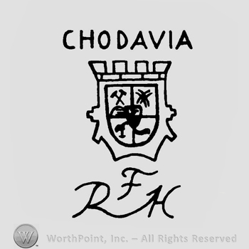 Mark with a shield under the word chodavia in and 155900